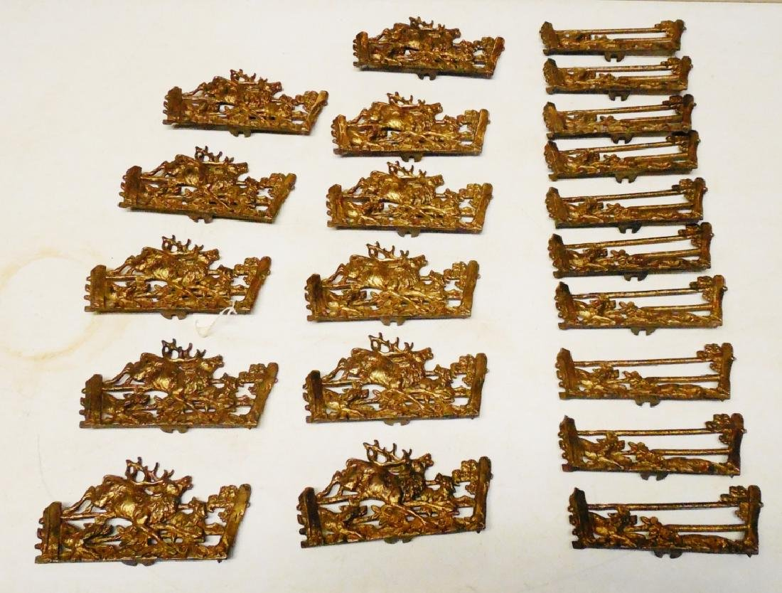 Lot of 21 Brass Decorative Fence Pieces