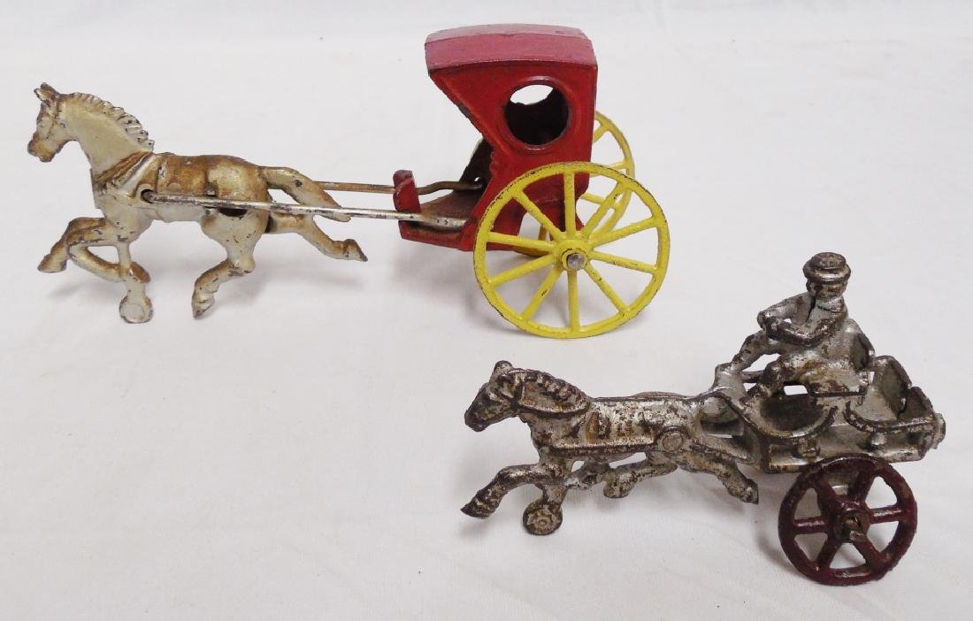 Lot of 2 Cast Iron Horse Drawn Carriages