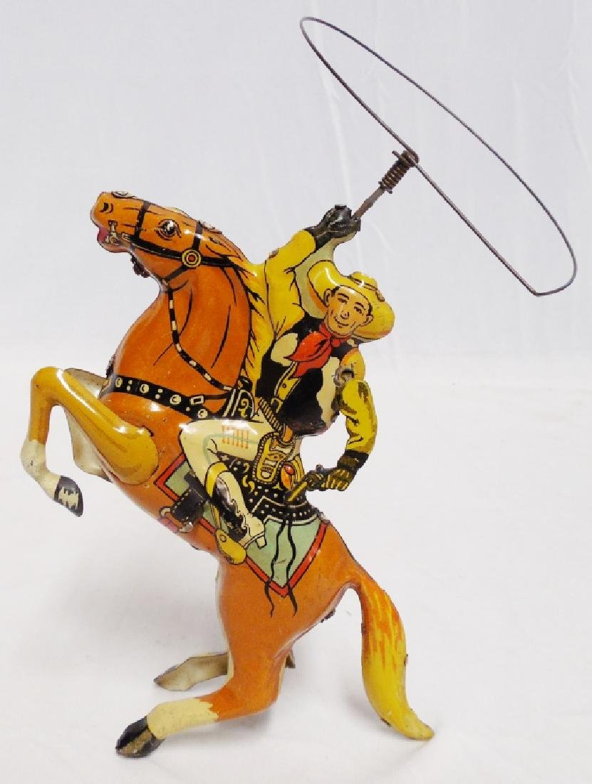 Marx Windup Tin Cowboy on Horse with Lasso