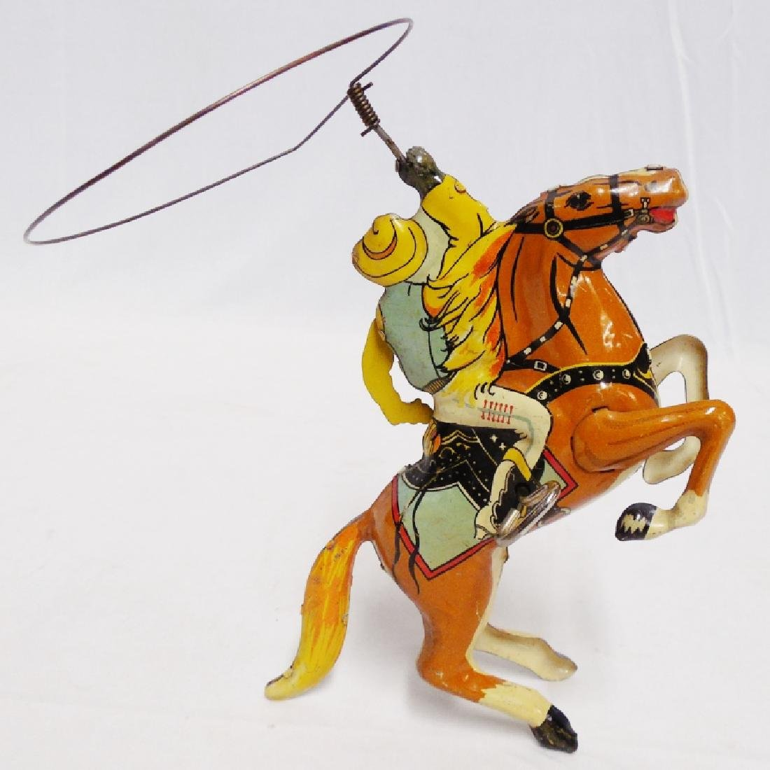 Marx Windup Tin Cowboy on Horse with Lasso - 2