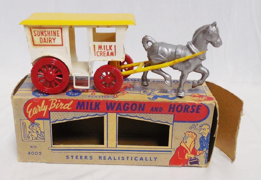 """Plastic """"Early Bird Milk Wagon and Horse"""" with Box"""