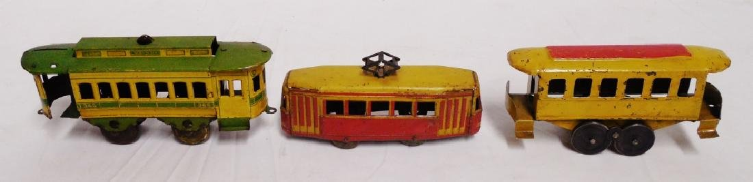 Lot of 3 Tin Trolley Cars