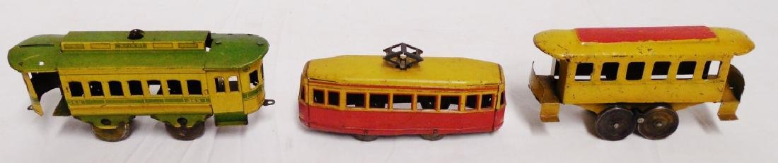 Lot of 3 Tin Trolley Cars - 2