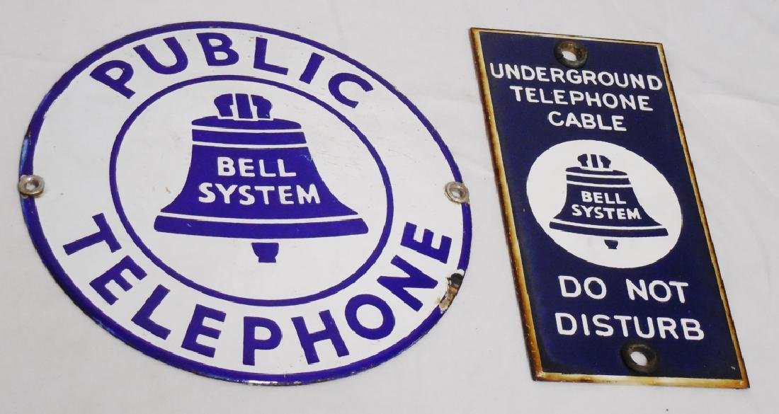 Lot of 2 Porcelain Bell Telephone Signs