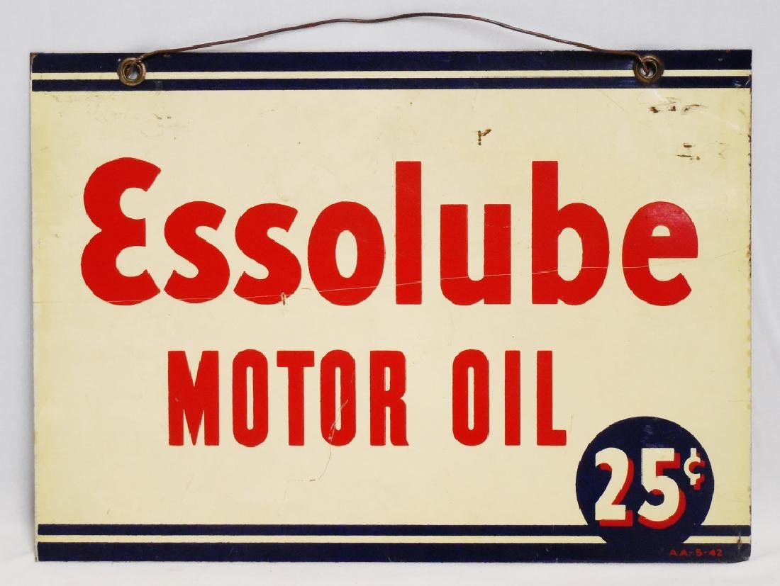 EssoLube Motor Oil 25 Cents 2 Sided Sign