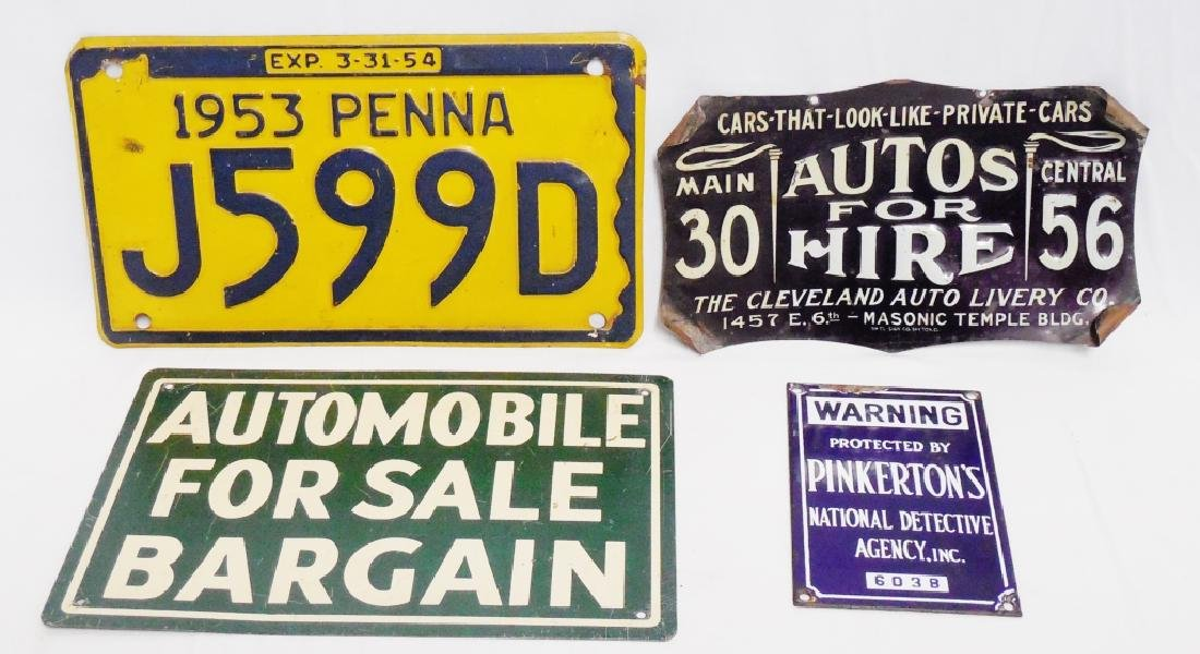 Lot of 3 Assorted Signs and 1  PA License Plate