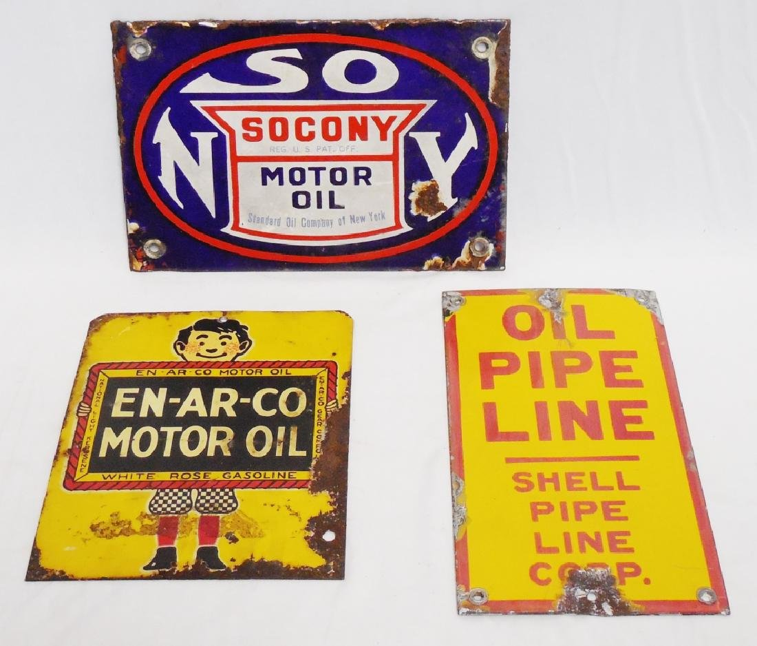 Lot of 3 Small Oil Signs