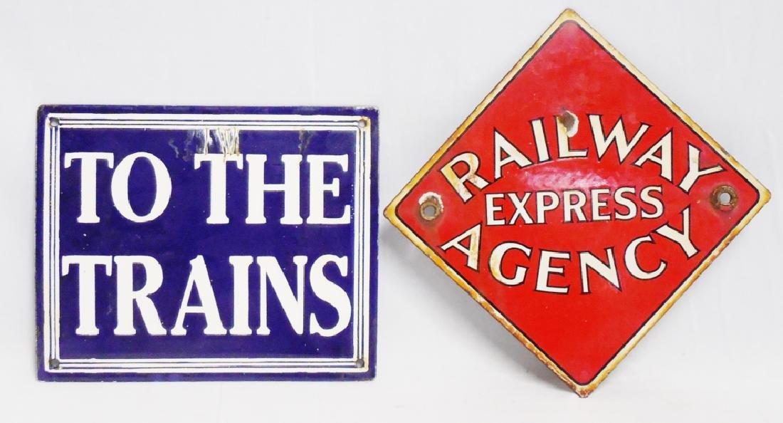 Lot of 2 Porcelain Railway/Train Signs