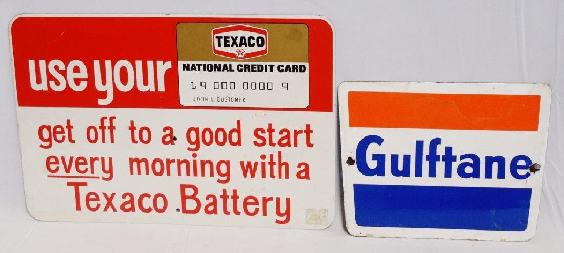 Lot of 2 Advertising Signs Texaco and Gulftane