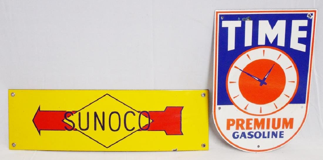 Lot of 2 Porcelain Gas Signs Sunoco and Time