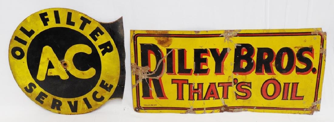 Lot of 2 Oil Advertising Signs AC and Riley Bros.