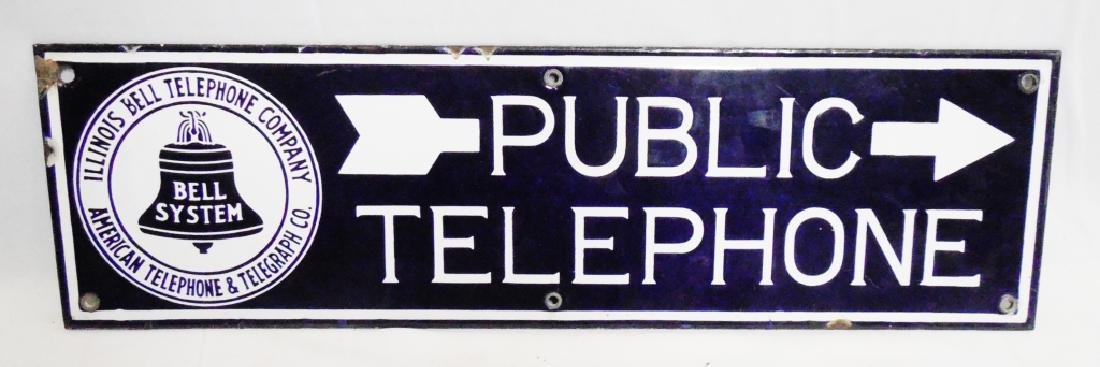 Bell System Public Telephone Porcelain Sign