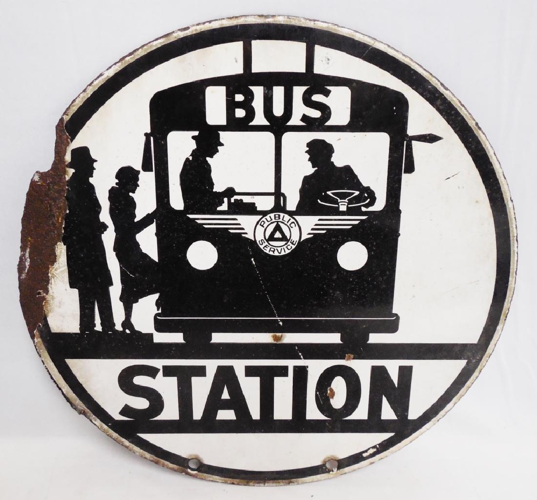 Porcelain Bus Station 2 Sided Sign