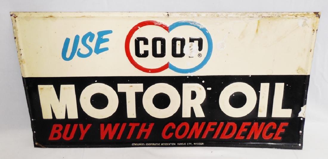Coop Motor Oil Tin Sign