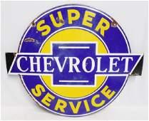 Chevrolet Super Service Porcelain 2 Sided Sign