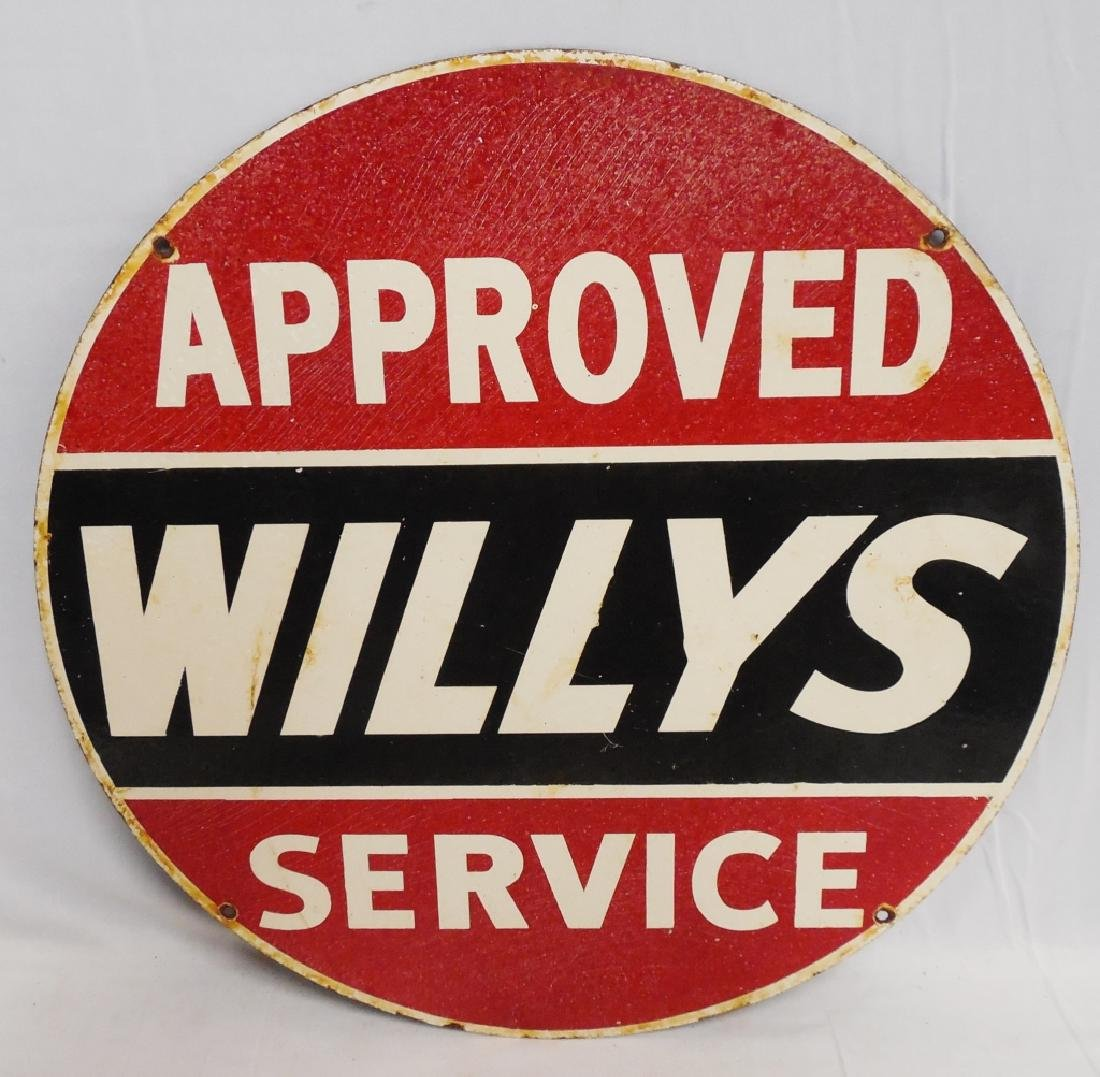Willy's Approved Service Porcelain Sign