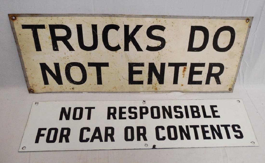 Lot of 2 Metal Instructional Signs