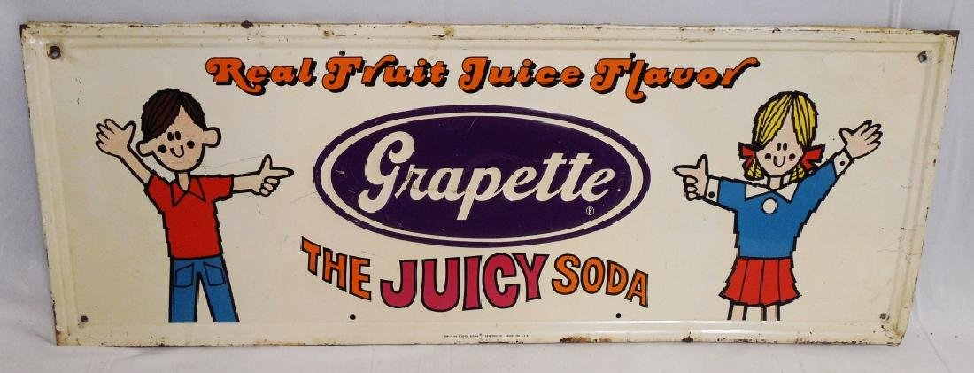 Grapette The Juicy Soda Embossed Tin Sign