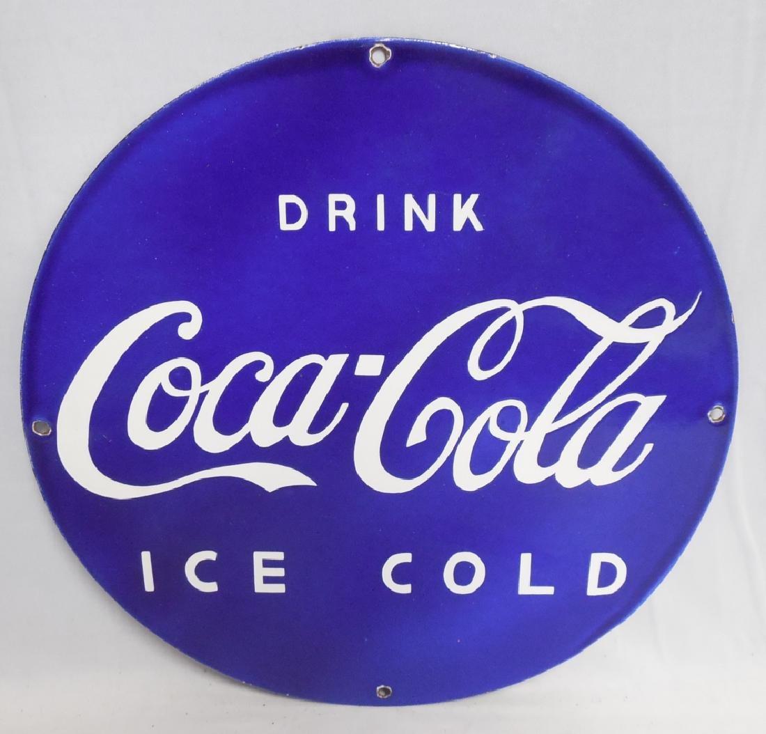 Blue Coca-Cola Porcelain Sign