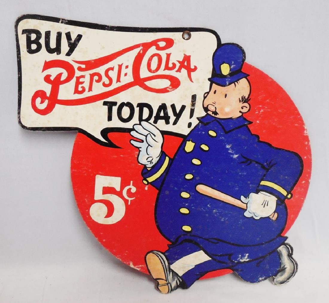 Cardboard 2 Sided Pepsi-Cola Advertisement