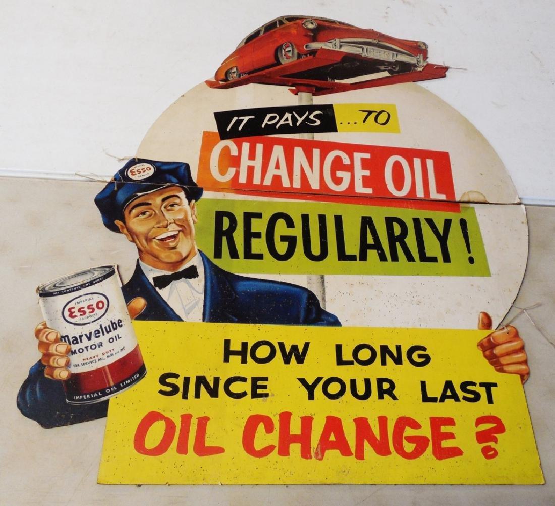 Cardboard Die Cut Esso Motor Oil Advertisement