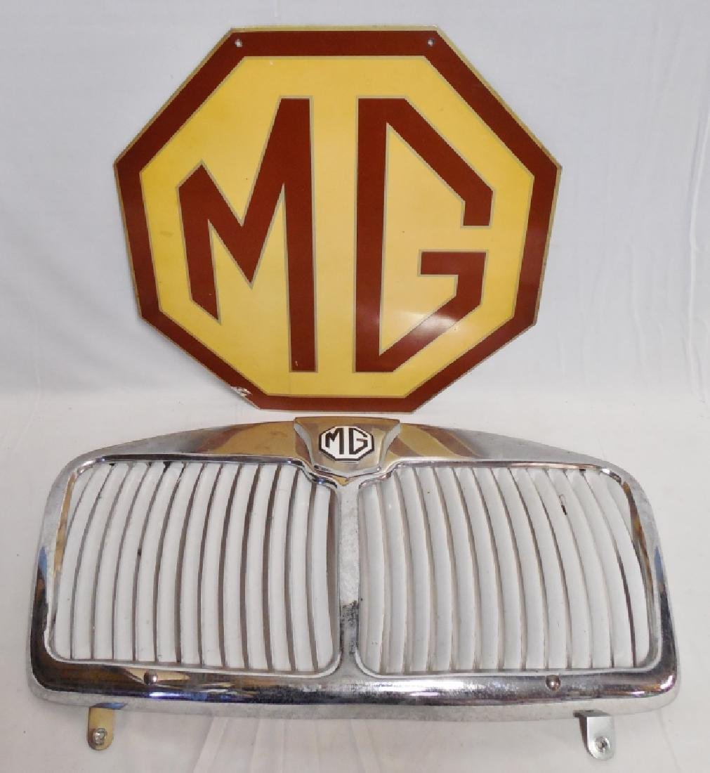 MG Grill and 2 Sided Octagonal Tin Sign