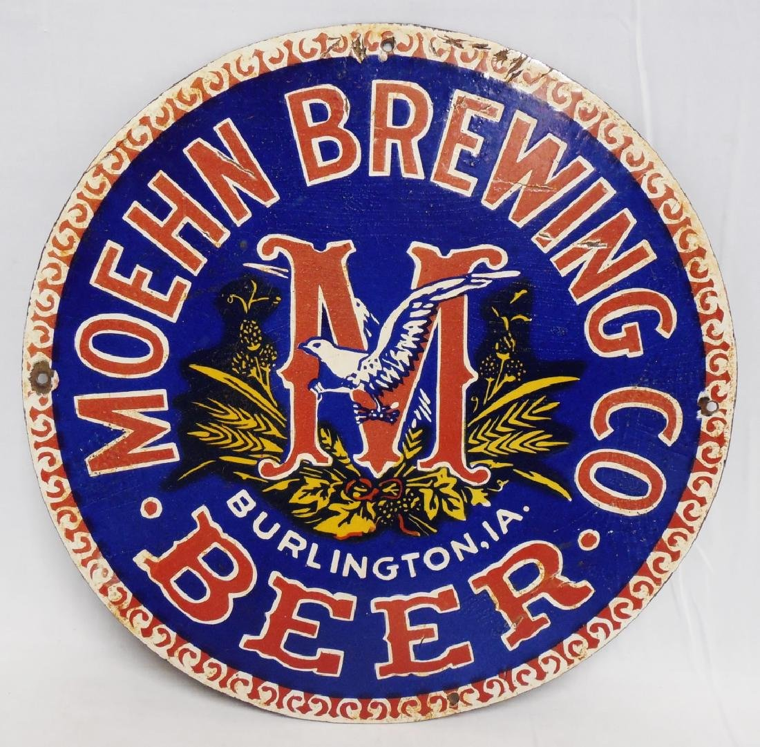 Moehn Brewing Co Porcelain Sign