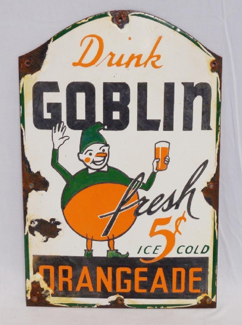Goblin OrangeAde Porcelain Sign