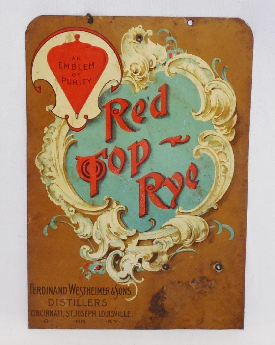 Red Top Rye Advertising Tin Sign