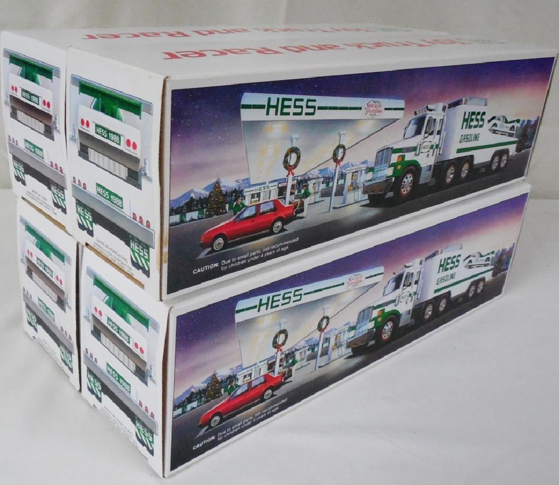 Lot of 4 1988 Hess Trucks w/ Race Car