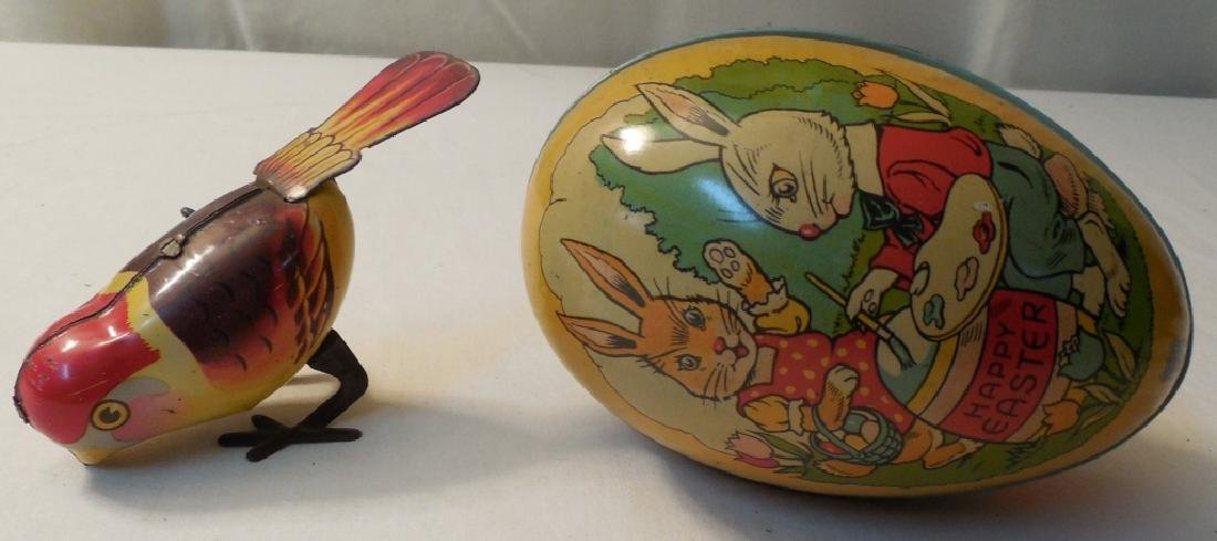 Tin Easter Egg and Wind Up Bird