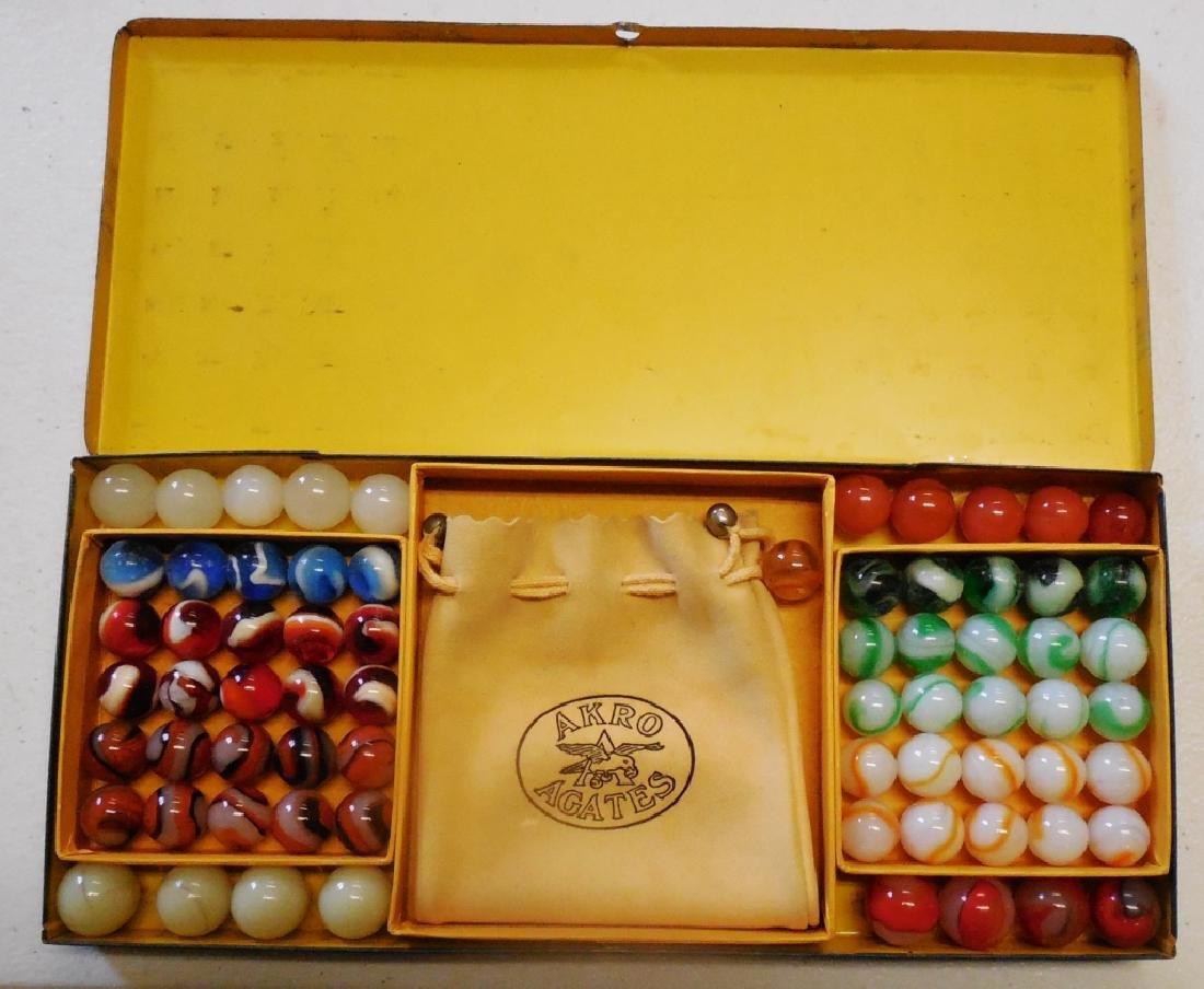 Akro Agates Set of Marbles in Tin Box - 3