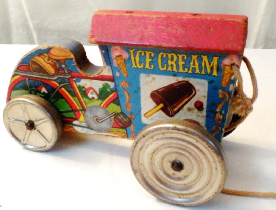 Ice Cream Cart Pull Type Wood