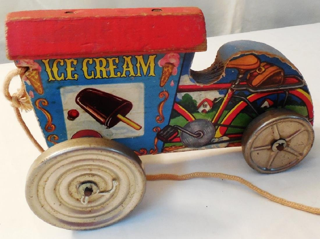Ice Cream Cart Pull Type Wood - 2