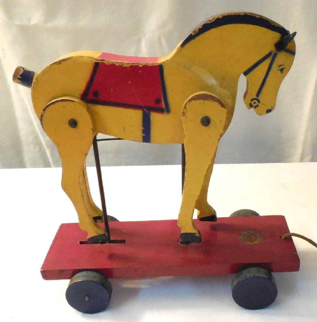 Sterling Rich Maid Wooden Pull Toy Horse