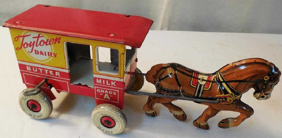 Tin Wind-up Toytown Dairy Horse and Cart