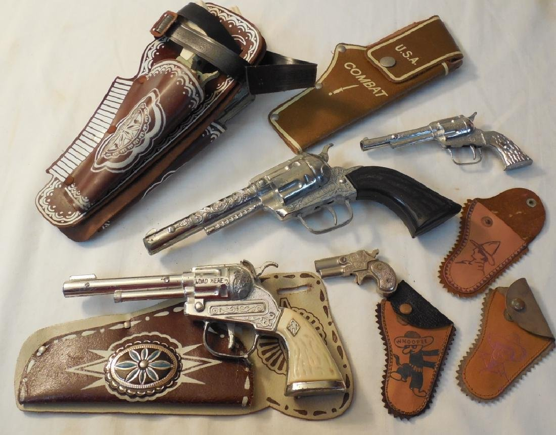 Lot of 5 Cap Guns & Various Holsters
