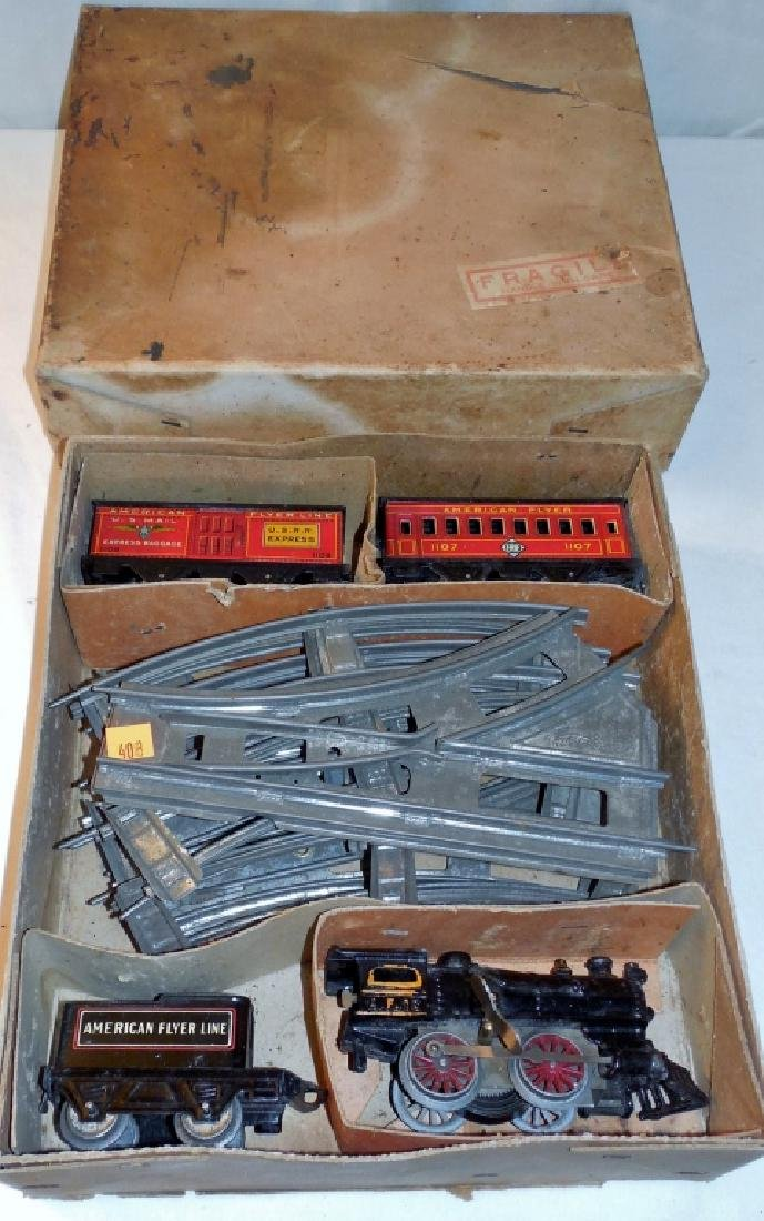 American Flyer Train Set w/ Wind-up Engine & Box