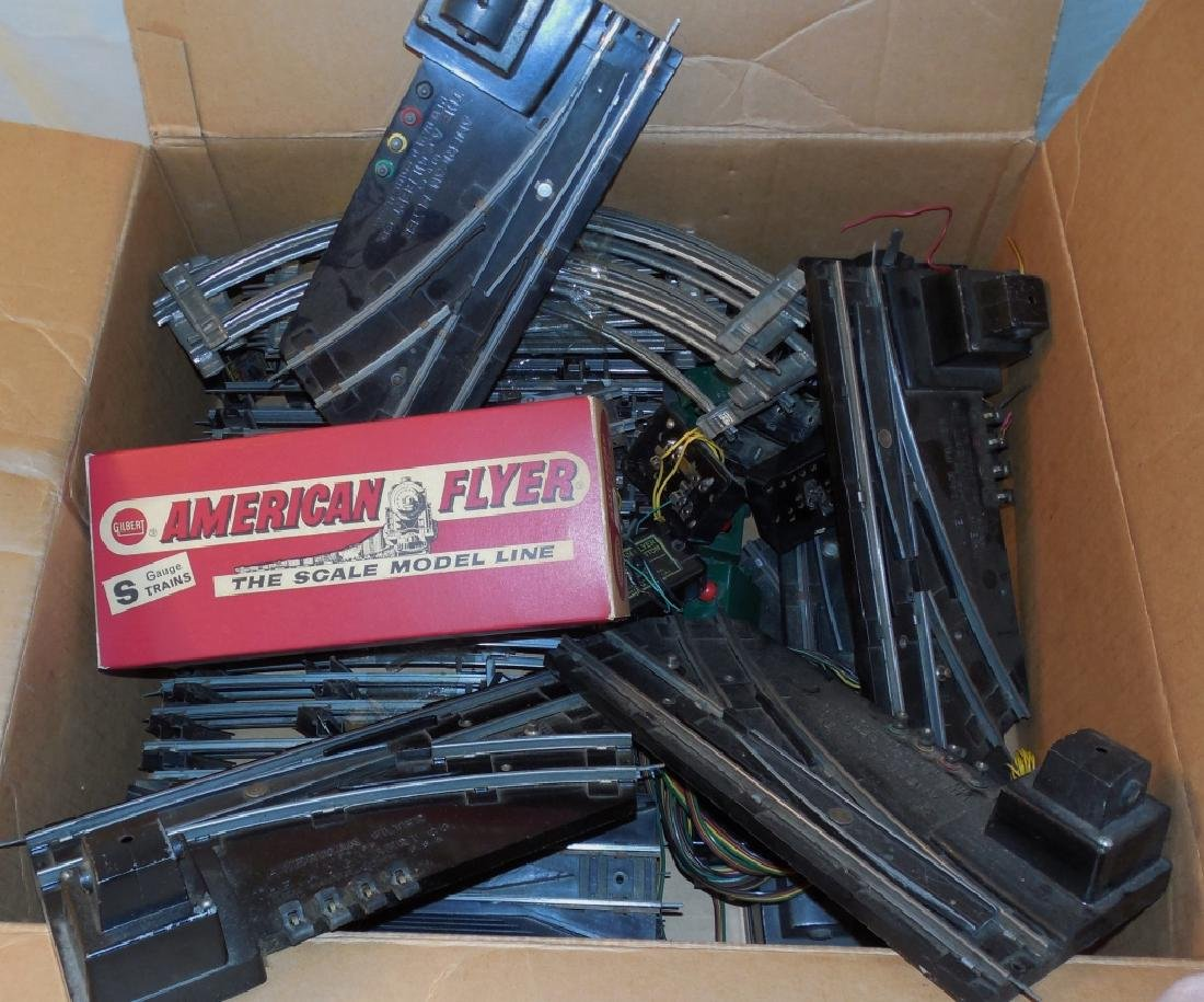 Box of American Flyer Switches and Track