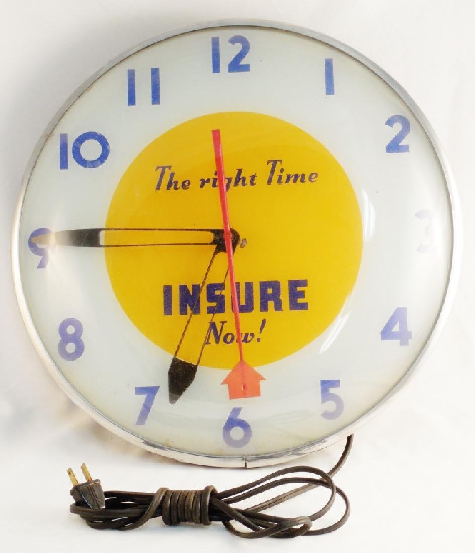 "Telechron ""Insure Now"" Light-Up Electric Clock"