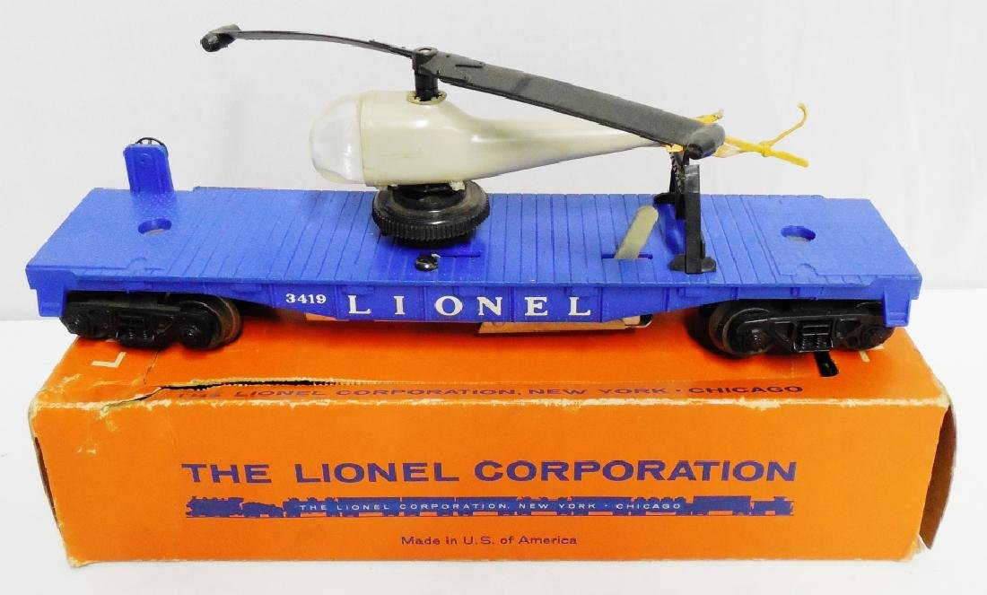 Lionel No 3419 Operating Helicopter Car with Box - 2
