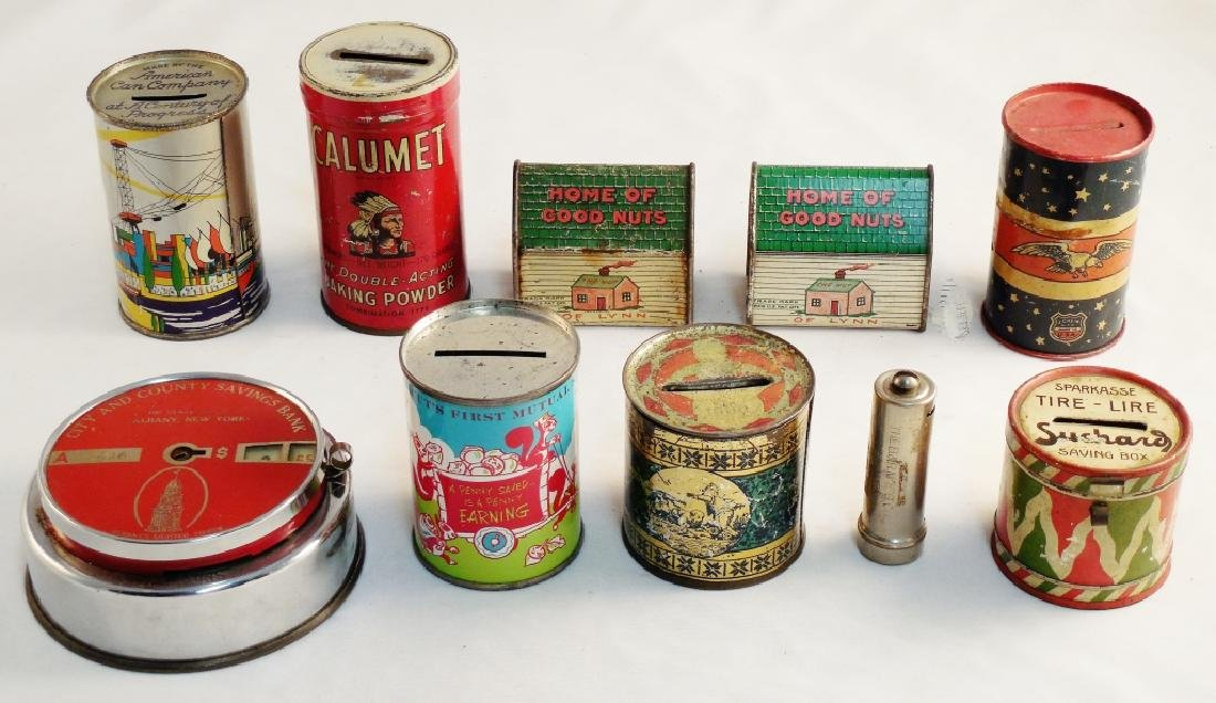 Lot of 10 Tin Banks