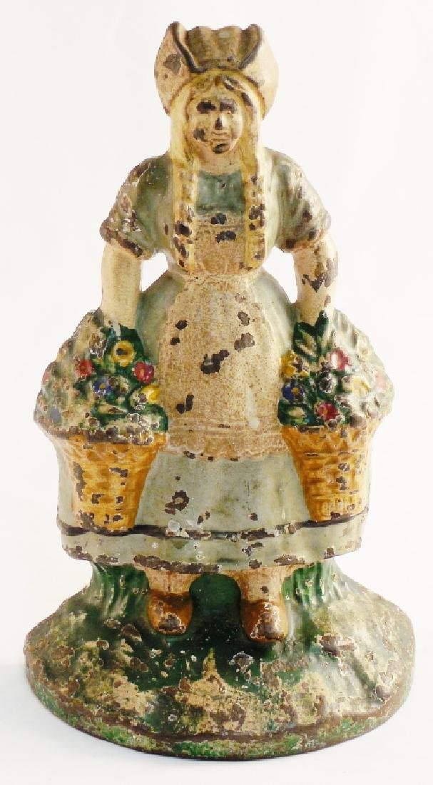 Cast Iron Doorstop Young Girl with Flowers