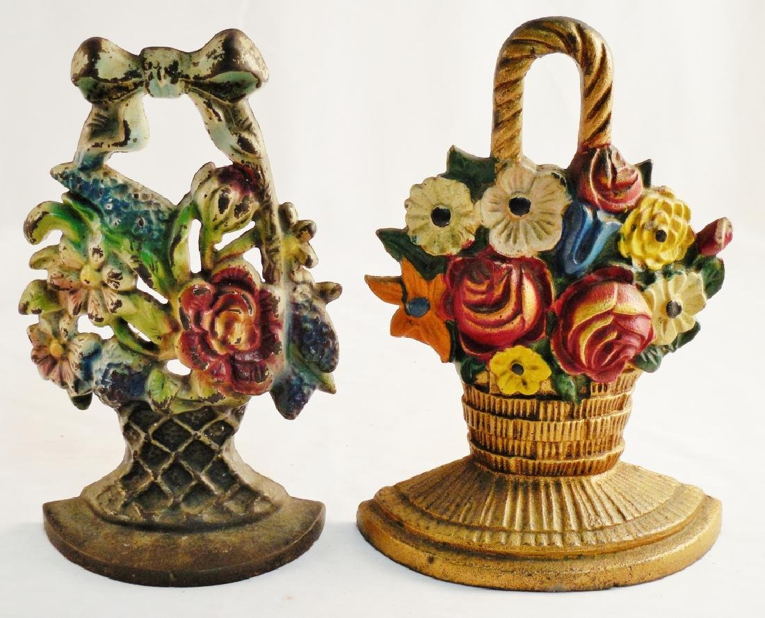 Lot of 2 Cast Iron Doorstops Both Floral
