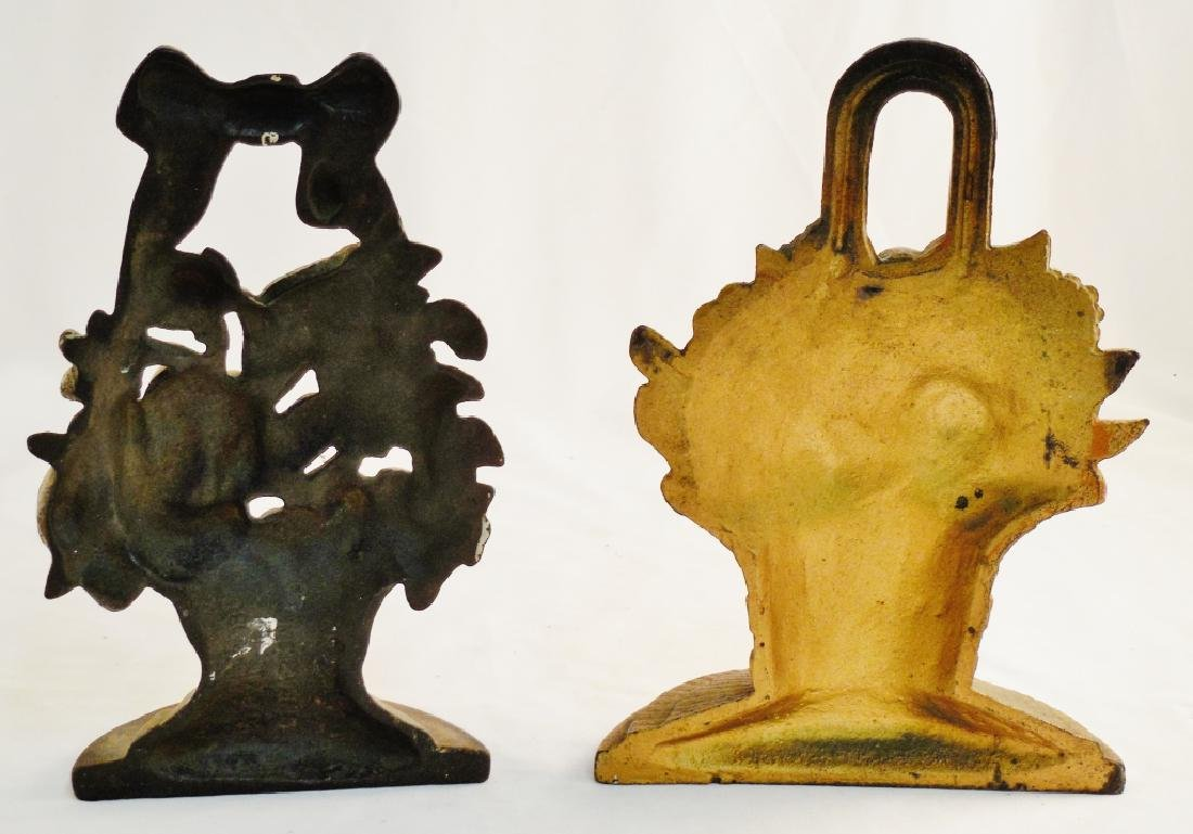 Lot of 2 Cast Iron Doorstops Both Floral - 2