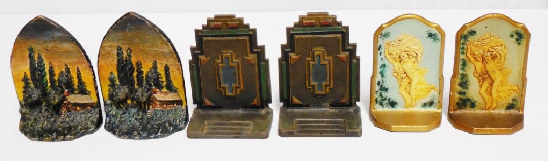 Lot of 3 Pairs of Cast Iron Bookends