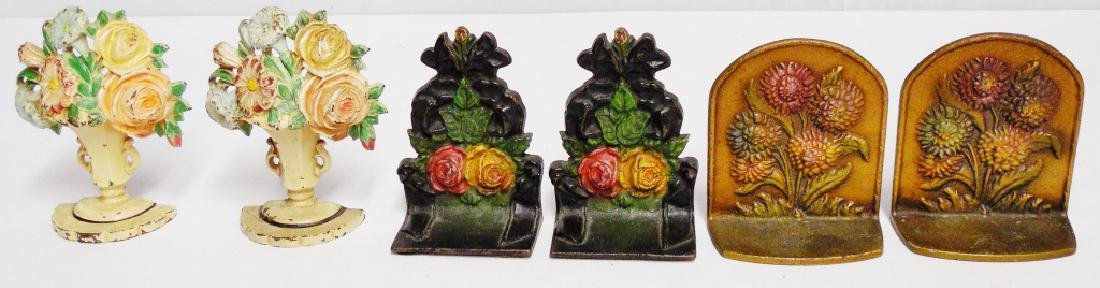 Lot of 3 Pairs of Cast Iron Bookends Floral