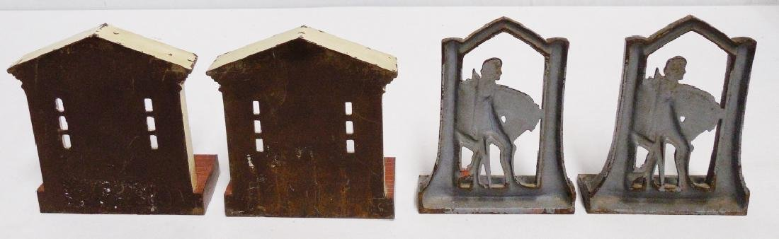 Lot of 2 Pairs of Cast Iron Bookends - 2