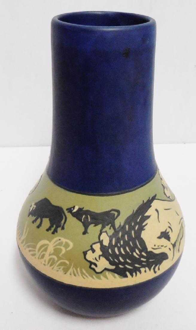 Weller Vase Decorated With Lion Hunting Scene