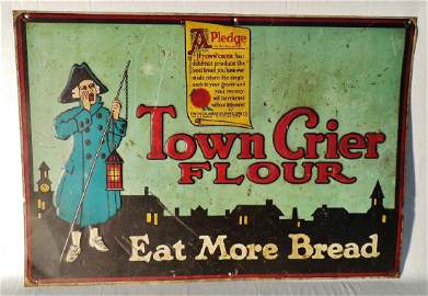 Town Crier Flour Embossed Tin Sign